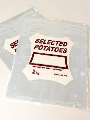 Clear Potato Sacks with Selected Potatoes printed on each