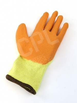 Orange and Yellow Knitted Gloves with Plastic Coating
