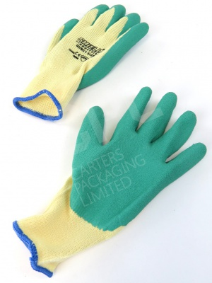 Green Size 10 Knitted Gloves with Latex Coating