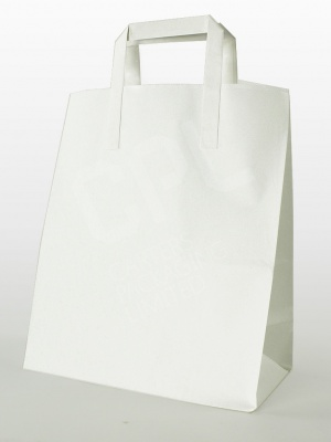 White Flat Handle Carrier Bags