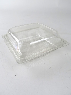 "Clear Plastic 6"" Square Bap Container with Hinged Lid"