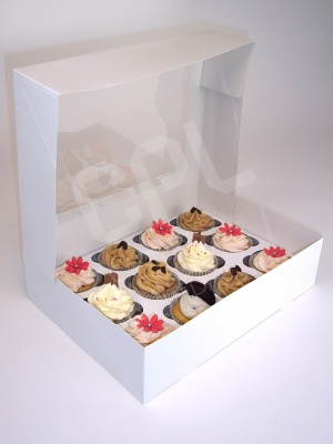 White Cupcake Box with Window and Insert for 12 Cupcakes