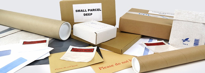 Postal packaging including postal boxes, envelopes, postal tubes and labels.