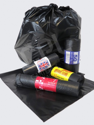 Black bin bags/liners supplied on rolls