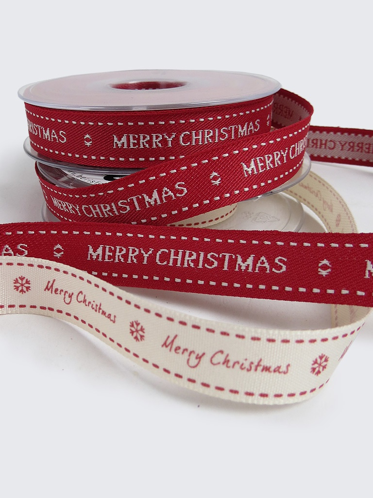 15mm Merry Christmas Ribbon - Red or White |