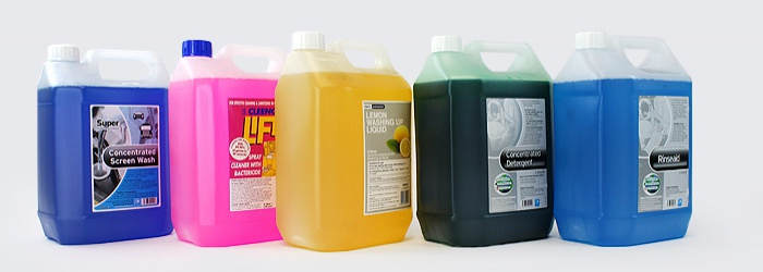 Large Quantities of Cleaning Fluids for Kitchens, Washrooms and Janitorial Tasks