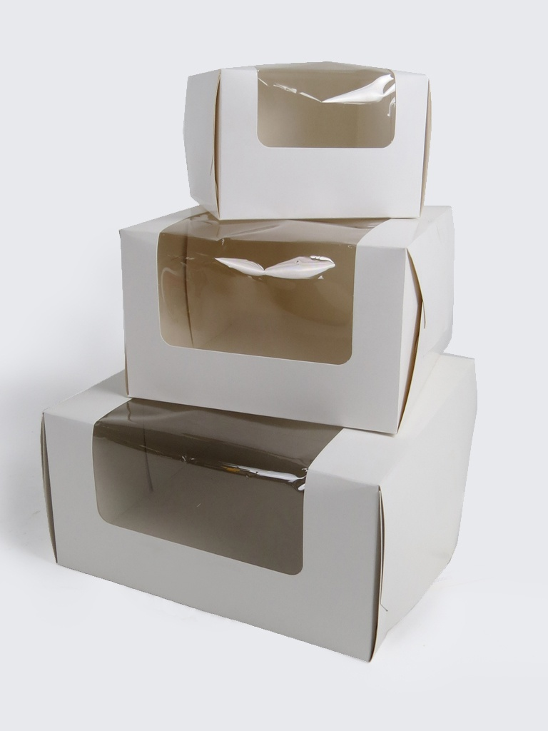 White cake boxes with windows for Window design box
