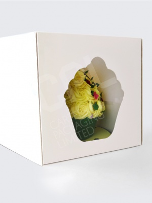 Jumbo Cupcake Box with Cake Shaped Window