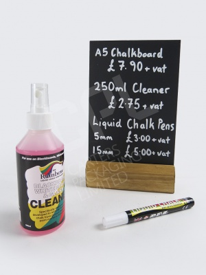 Chalkboard with Liquid Chalk Pens and Cleaner
