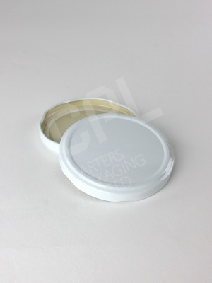82mm Large White Metal Jar Lid