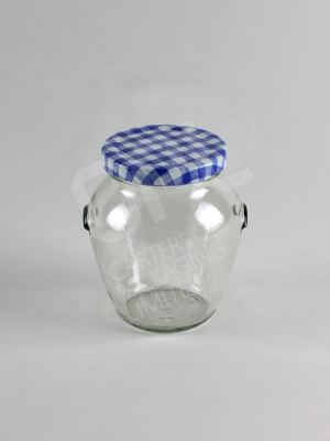 Blue Gingham Style Lid upon Orcio Jar