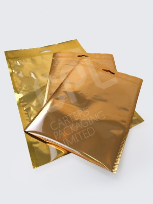 Golden Vacuum Pouches with Euro Slot