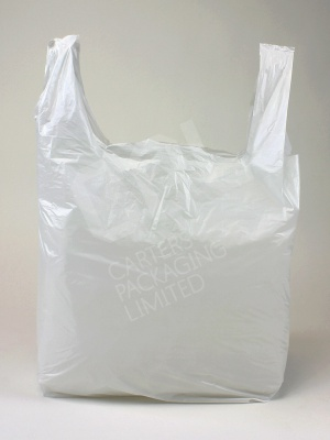 Medium White Plastic Shopping Bag