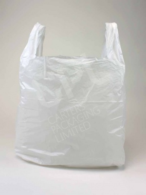 Large White Plastic Shopping Carrier Bag