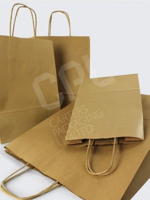Brown Twist Handle Carrier Bags