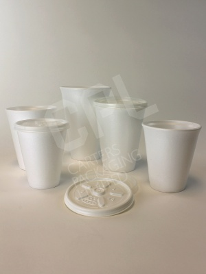 Disposable takeaway cups for hot and cold drinks