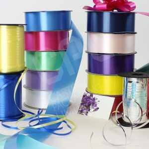 Ribbon, pull bow ribbons and designer ribbon for decorating gifts.