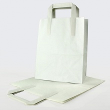White Kraft Flat Handle Paper Carrier Bags