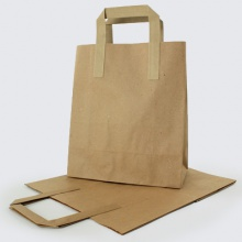 Brown Kraft Flat Handle Paper Carrier Bags
