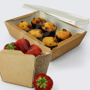 Fuzione Brown Kraft Pots/Trays & Clear Lids
