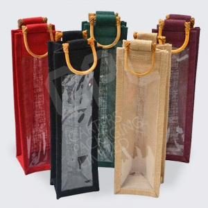 Jute Bags - Bottle with Wooden Handle