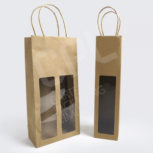 Bottle Bags - Brown Kraft Paper with Window