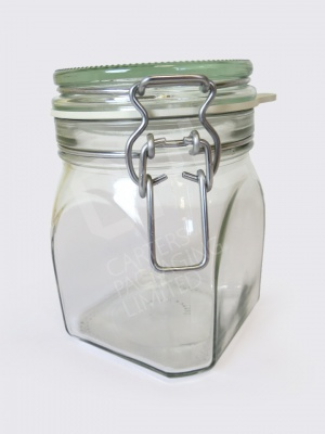 900ml Square Clip-Top Jar
